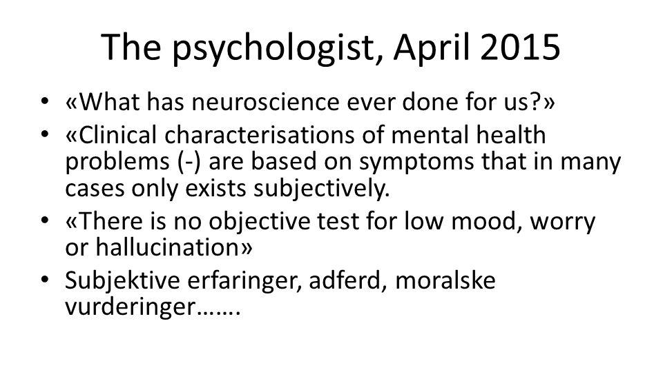 The psychologist, April 2015