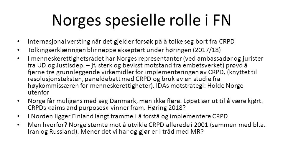 Norges spesielle rolle i FN