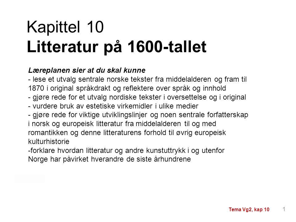 Kapittel 10 Litteratur på 1600-tallet