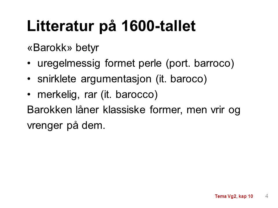 Litteratur på 1600-tallet «Barokk» betyr