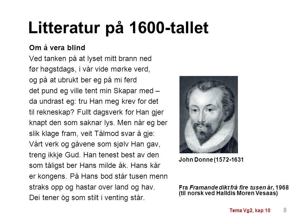 Litteratur på 1600-tallet Om å vera blind