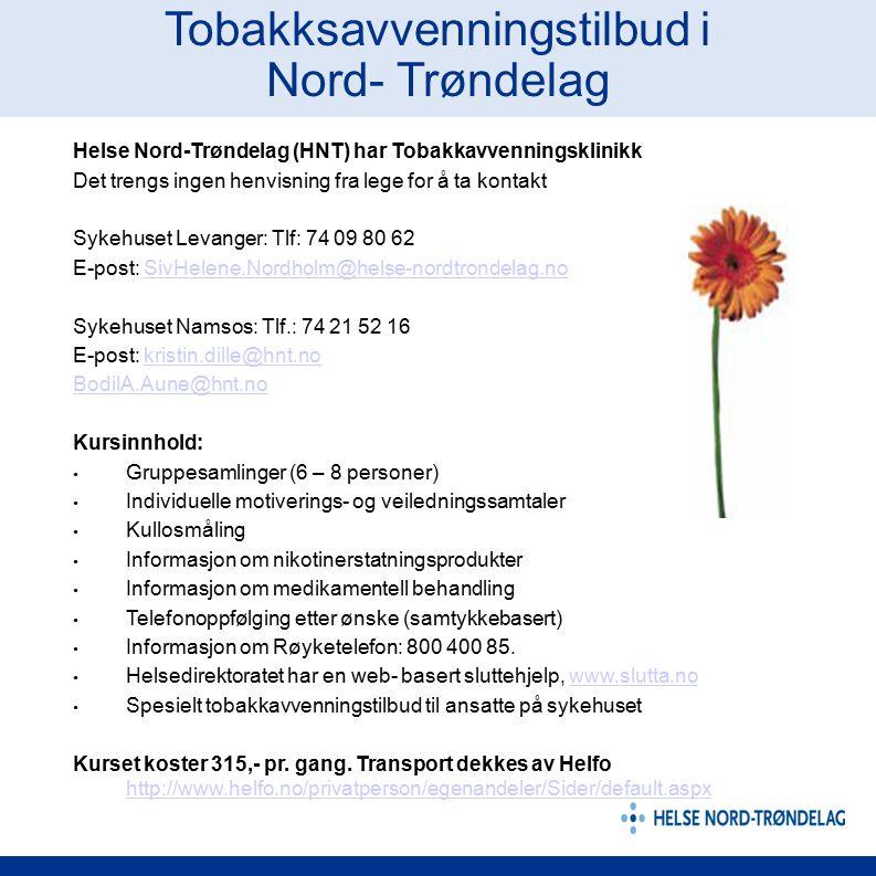 Tobakksavvenningstilbud i Nord- Trøndelag