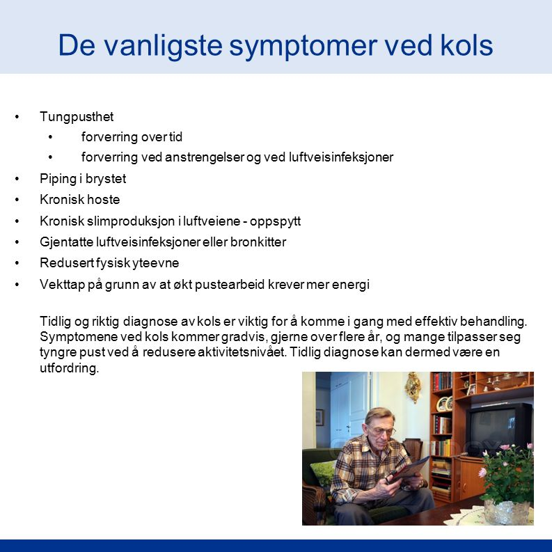 De vanligste symptomer ved kols