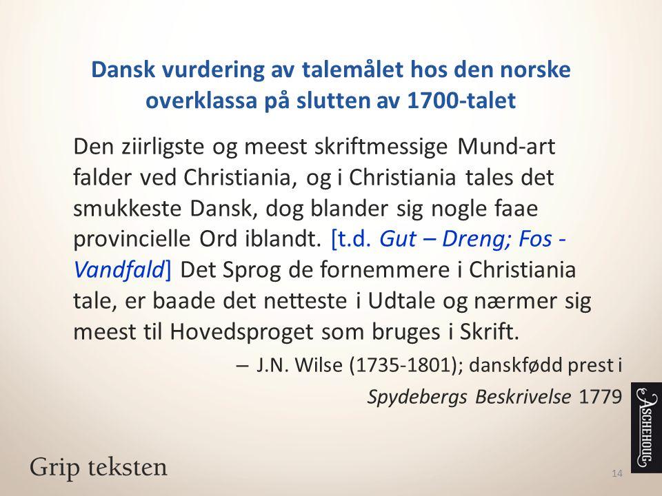 Dansk vurdering av talemålet hos den norske overklassa på slutten av 1700-talet