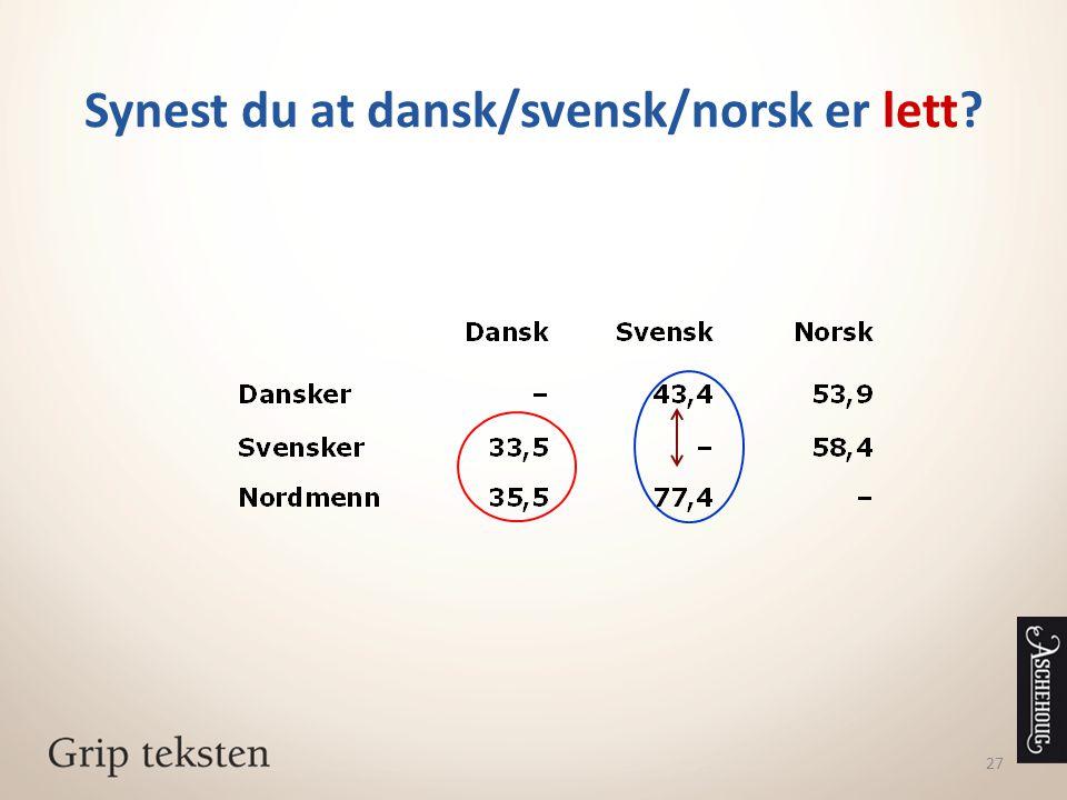 Synest du at dansk/svensk/norsk er lett