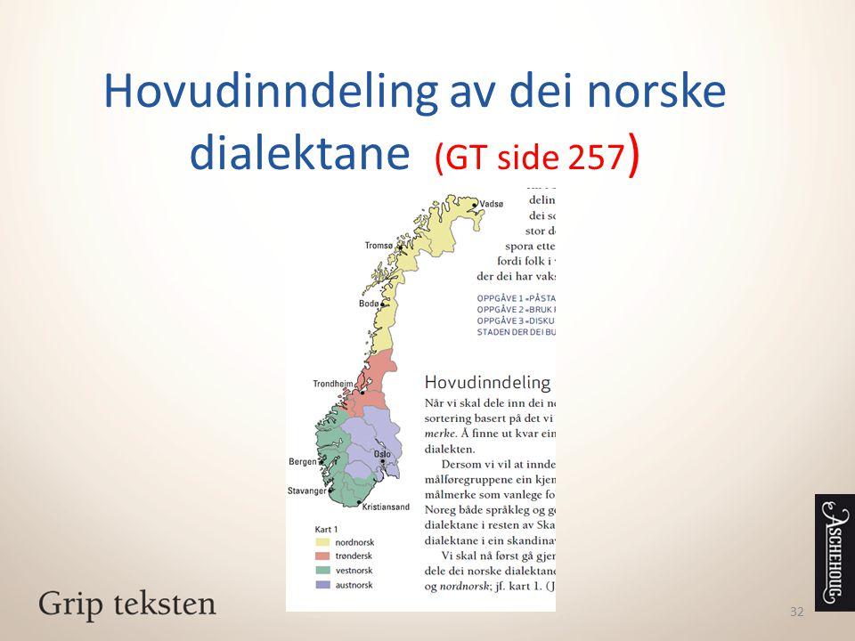Hovudinndeling av dei norske dialektane (GT side 257)