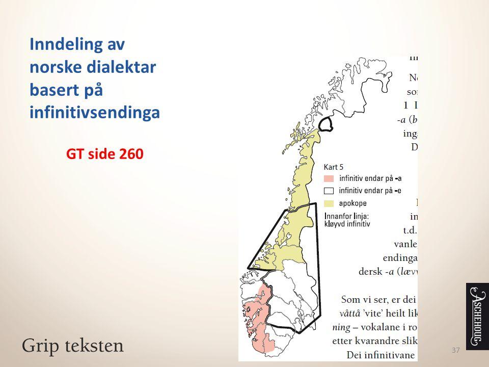 Inndeling av norske dialektar basert på infinitivsendinga
