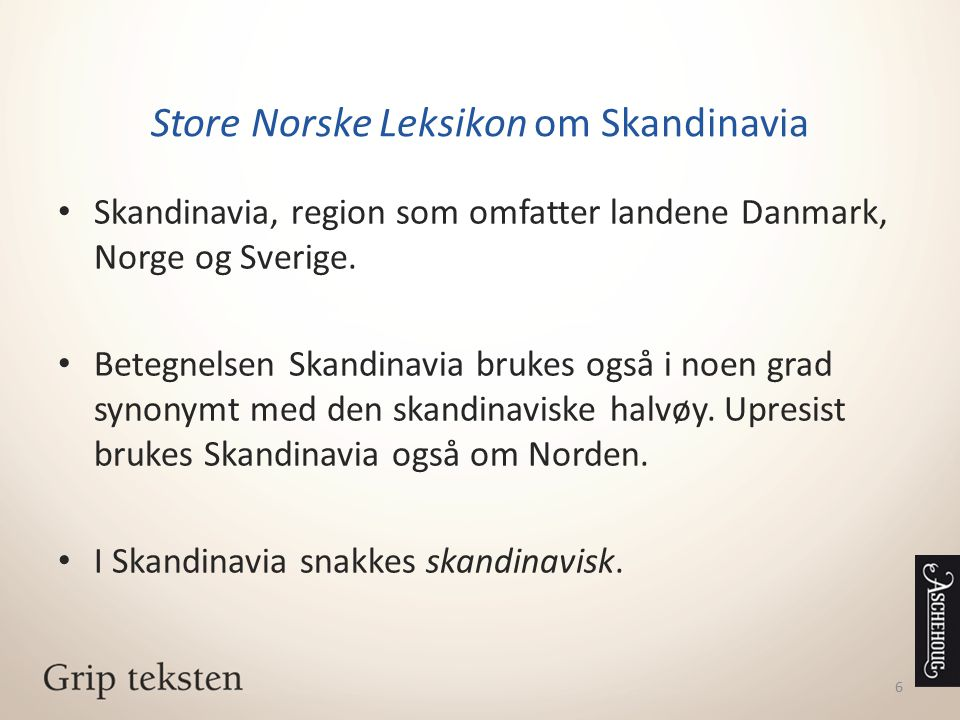 Store Norske Leksikon om Skandinavia