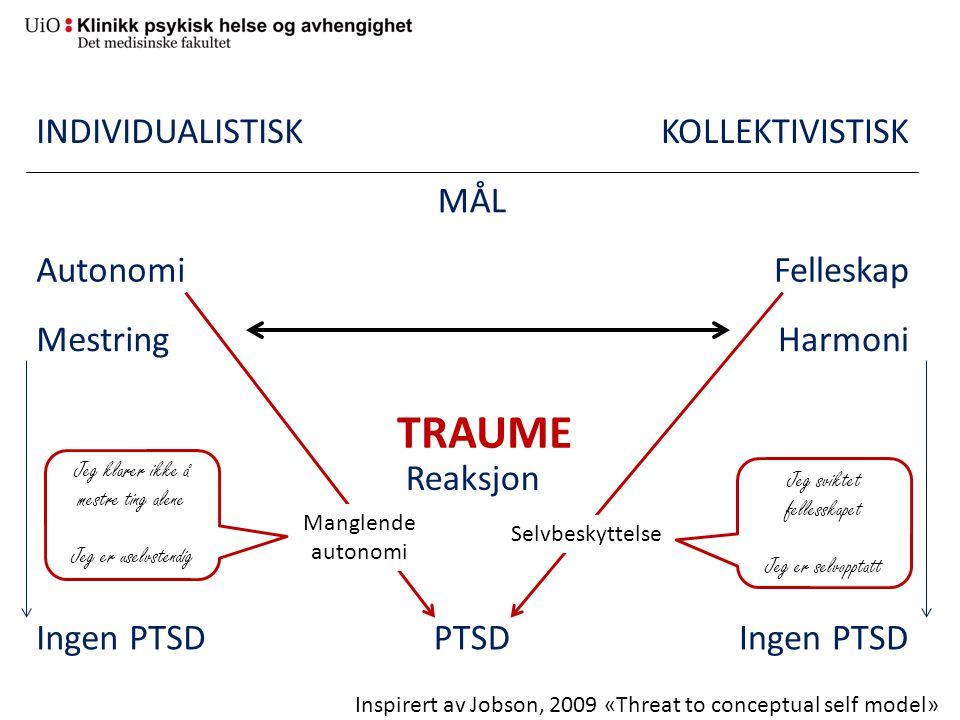 TRAUME INDIVIDUALISTISK KOLLEKTIVISTISK MÅL Autonomi Felleskap