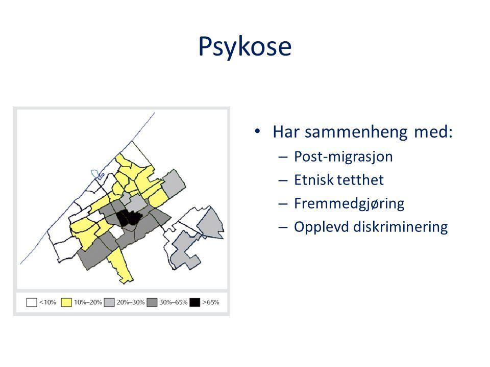 Psykose Har sammenheng med: Post-migrasjon Etnisk tetthet