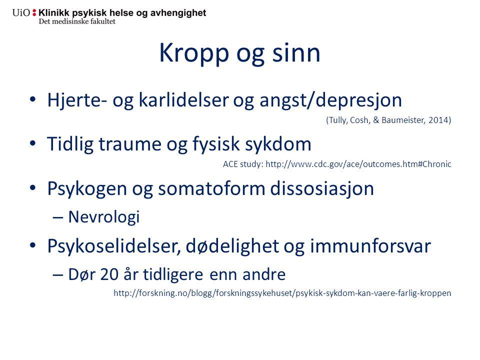 Kropp og sinn Hjerte- og karlidelser og angst/depresjon