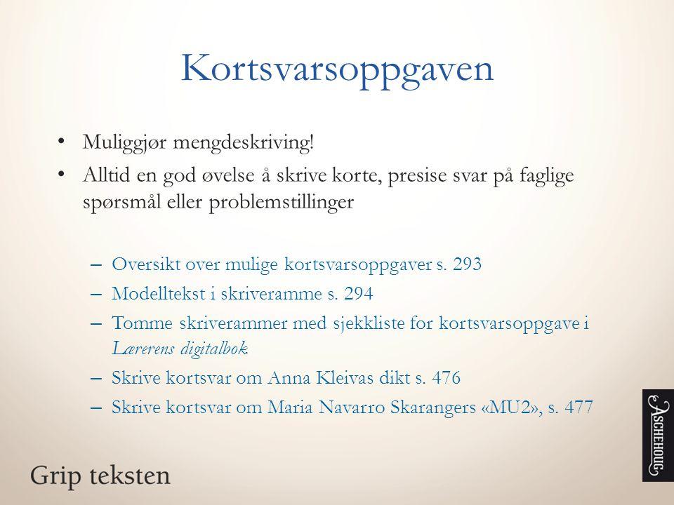 Kortsvarsoppgaven Muliggjør mengdeskriving!
