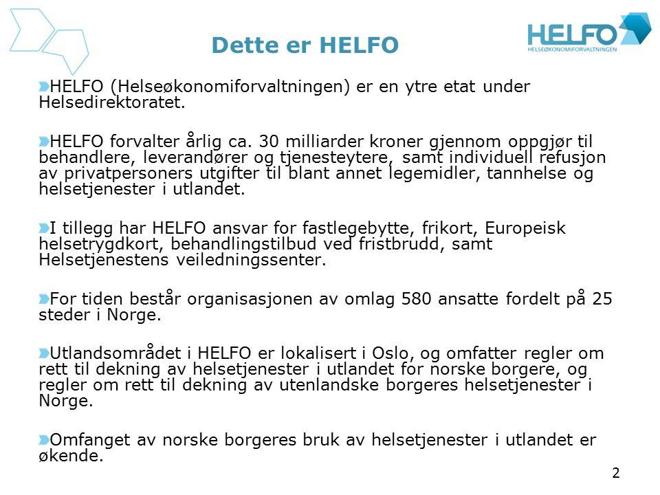 Dette er HELFO HELFO (Helseøkonomiforvaltningen) er en ytre etat under Helsedirektoratet.