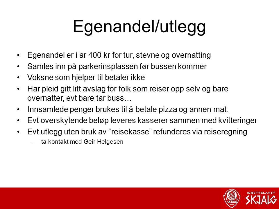 Egenandel/utlegg Egenandel er i år 400 kr for tur, stevne og overnatting. Samles inn på parkerinsplassen før bussen kommer.