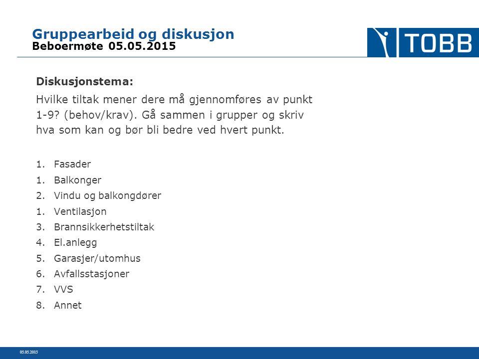 Gruppearbeid og diskusjon Beboermøte 05.05.2015