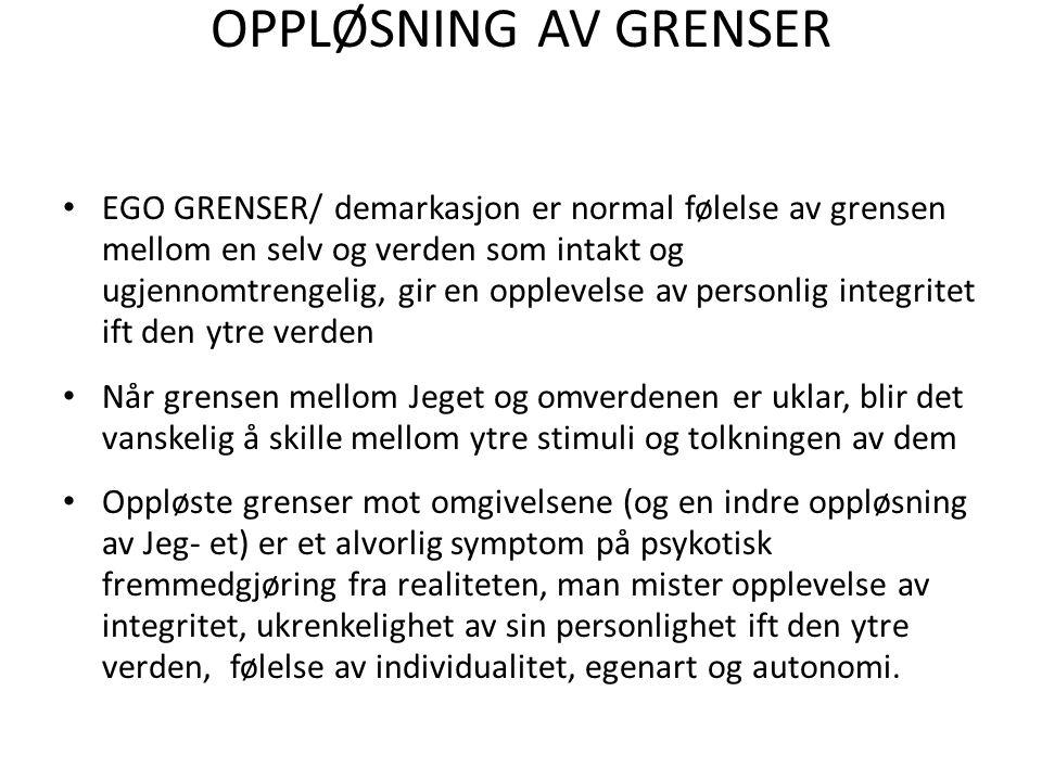 OPPLØSNING AV GRENSER