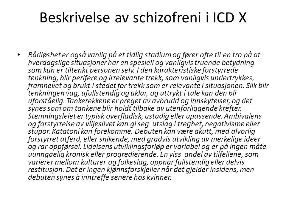 Beskrivelse av schizofreni i ICD X