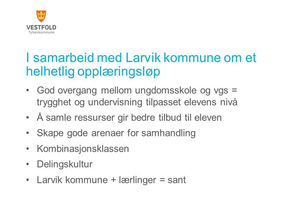 I samarbeid med Larvik kommune om et helhetlig opplæringsløp