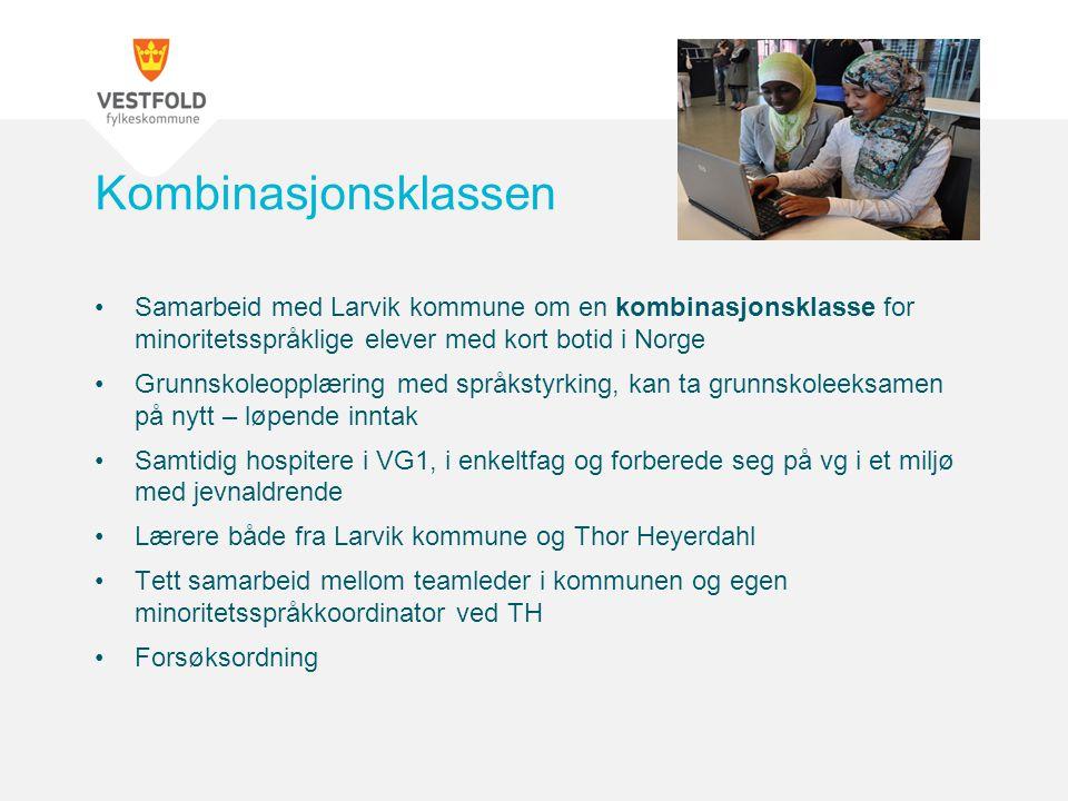 Kombinasjonsklassen Samarbeid med Larvik kommune om en kombinasjonsklasse for minoritetsspråklige elever med kort botid i Norge.