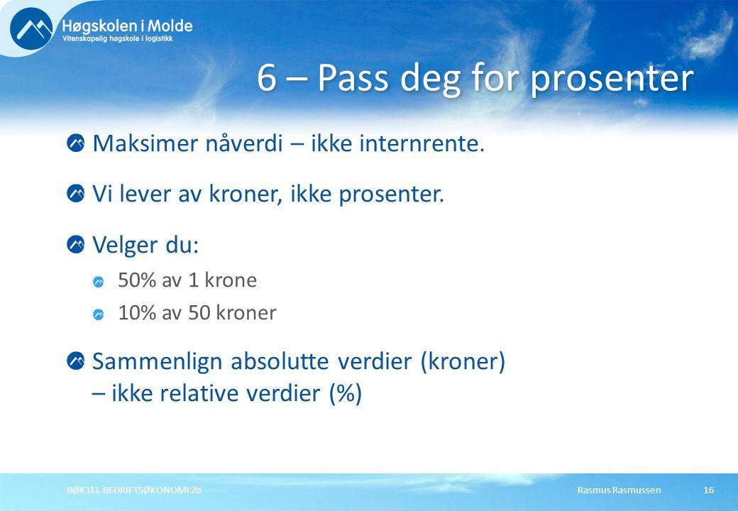 6 – Pass deg for prosenter