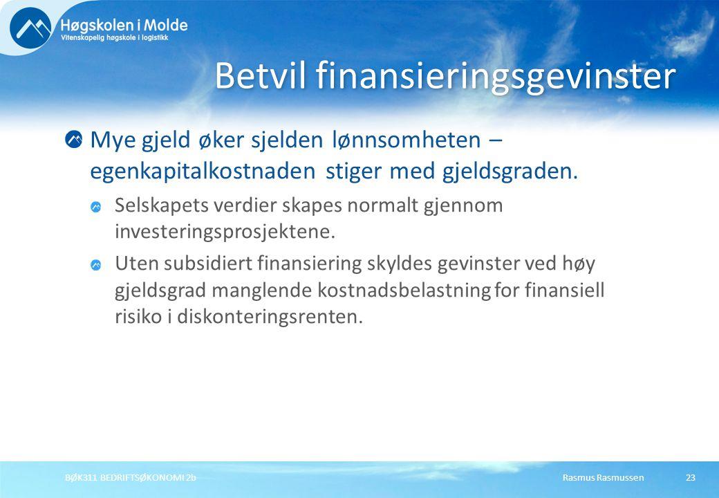 Betvil finansieringsgevinster
