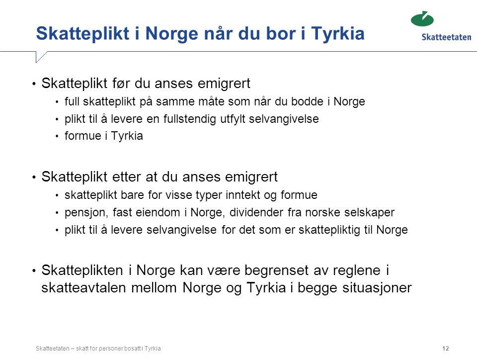 Skatteplikt i Norge når du bor i Tyrkia