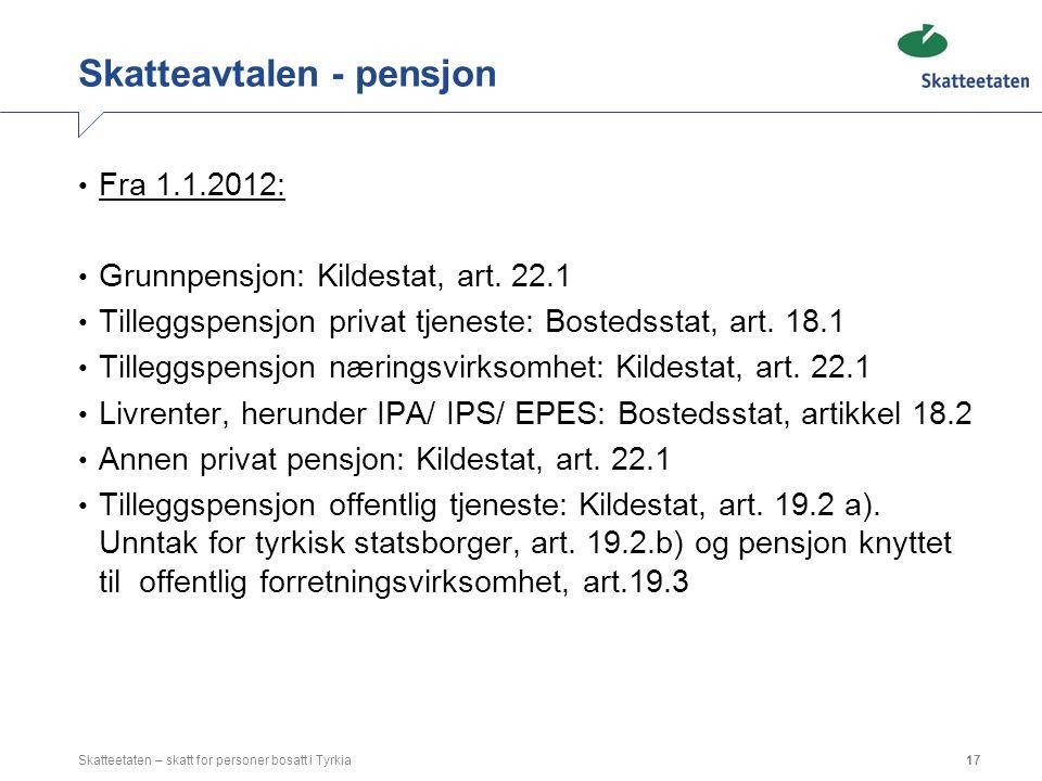 Skatteavtalen - pensjon