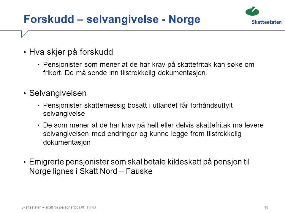 Forskudd – selvangivelse - Norge