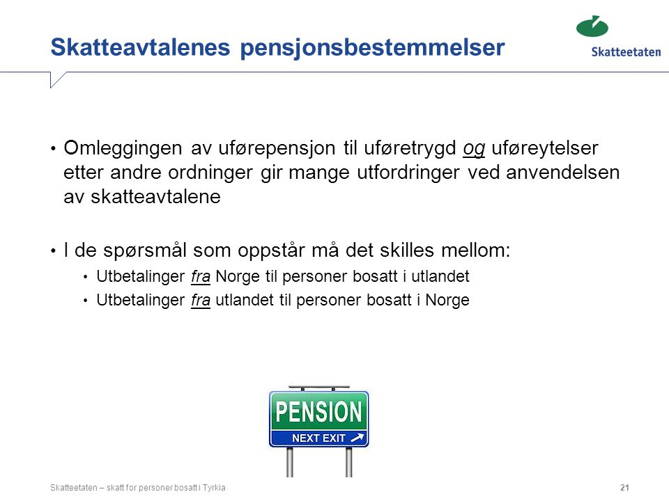 Skatteavtalenes pensjonsbestemmelser