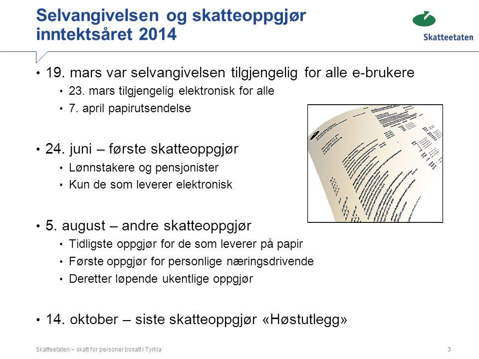 Selvangivelsen og skatteoppgjør inntektsåret 2014