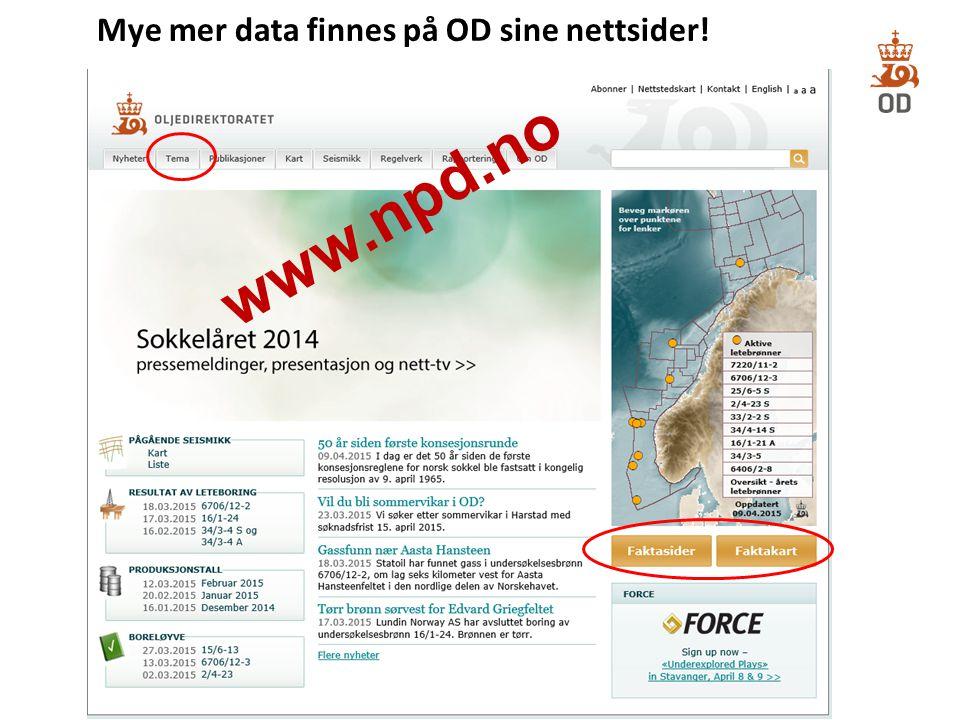 Mye mer data finnes på OD sine nettsider!