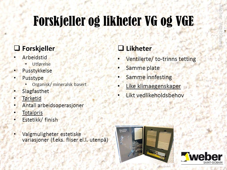 Forskjeller og likheter VG og VGE