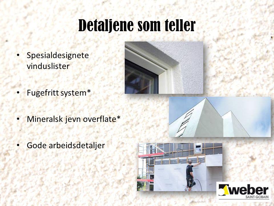 Detaljene som teller Spesialdesignete vinduslister Fugefritt system*