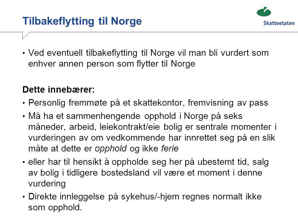 Tilbakeflytting til Norge