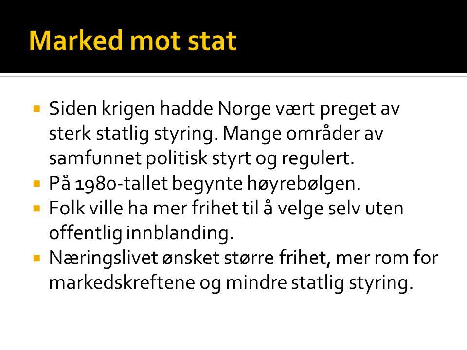 Marked mot stat Siden krigen hadde Norge vært preget av sterk statlig styring. Mange områder av samfunnet politisk styrt og regulert.