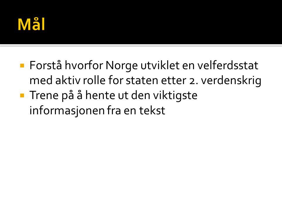 Mål Forstå hvorfor Norge utviklet en velferdsstat med aktiv rolle for staten etter 2. verdenskrig.