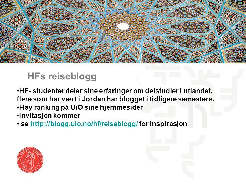 HFs reiseblogg HF- studenter deler sine erfaringer om delstudier i utlandet, flere som har vært i Jordan har blogget i tidligere semestere.
