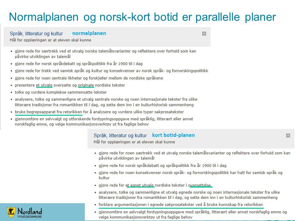 Normalplanen og norsk-kort botid er parallelle planer