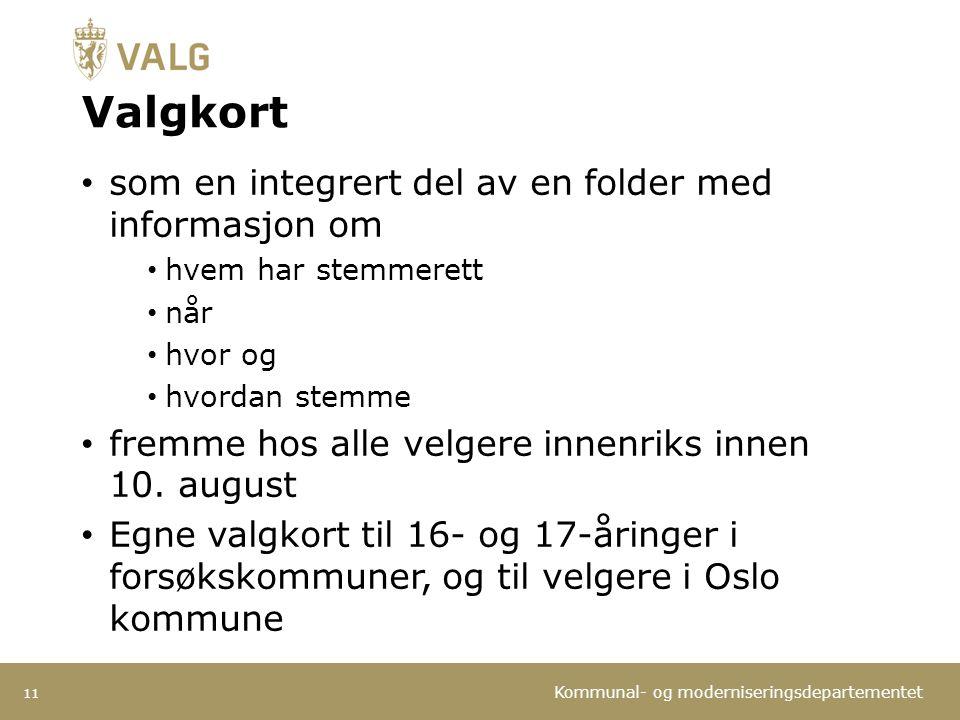 Valgkort som en integrert del av en folder med informasjon om