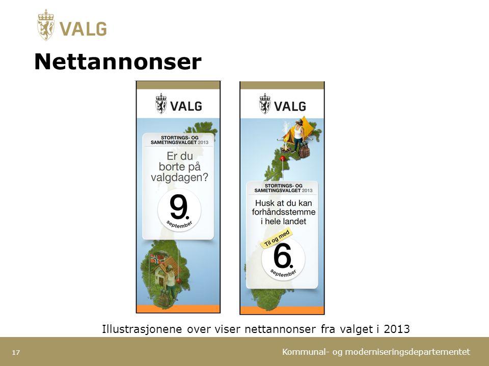 Nettannonser Illustrasjonene over viser nettannonser fra valget i 2013