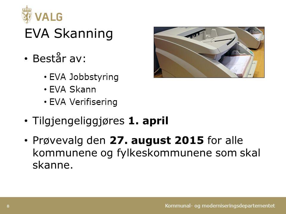 EVA Skanning Består av: Tilgjengeliggjøres 1. april
