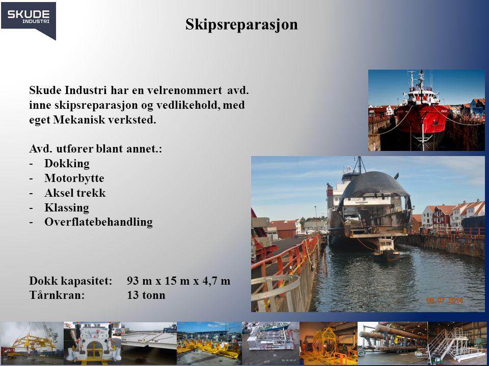 Skipsreparasjon Skude Industri har en velrenommert avd. inne skipsreparasjon og vedlikehold, med eget Mekanisk verksted.