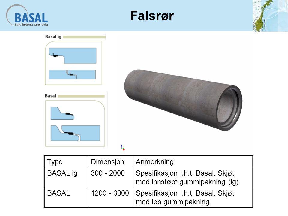 Falsrør Type Dimensjon Anmerkning BASAL ig 300 - 2000