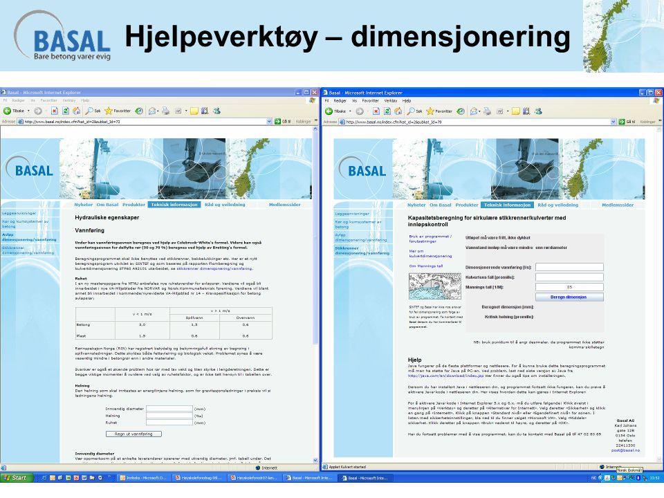 Hjelpeverktøy – dimensjonering