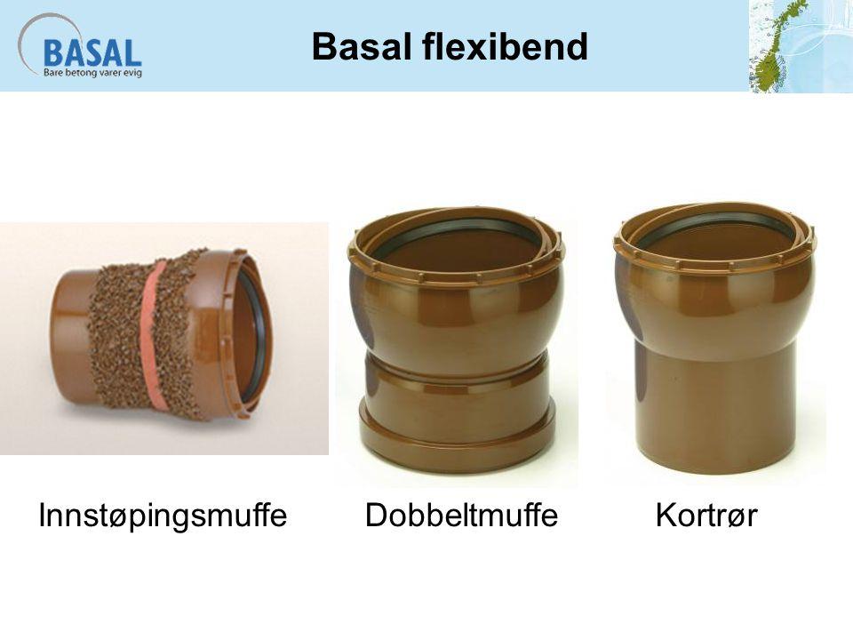 Basal flexibend Innstøpingsmuffe Dobbeltmuffe Kortrør