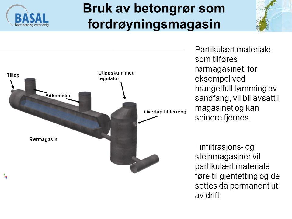 Bruk av betongrør som fordrøyningsmagasin