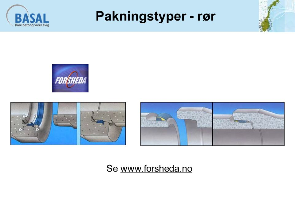 Pakningstyper - rør Se www.forsheda.no