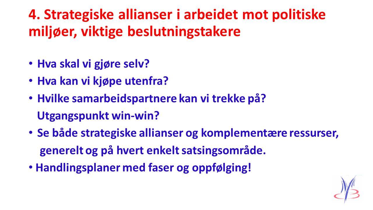 4. Strategiske allianser i arbeidet mot politiske miljøer, viktige beslutningstakere