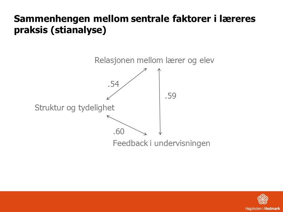 Sammenhengen mellom sentrale faktorer i læreres praksis (stianalyse)