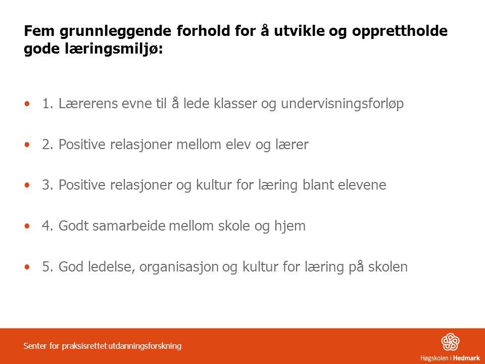 Fem grunnleggende forhold for å utvikle og opprettholde gode læringsmiljø: